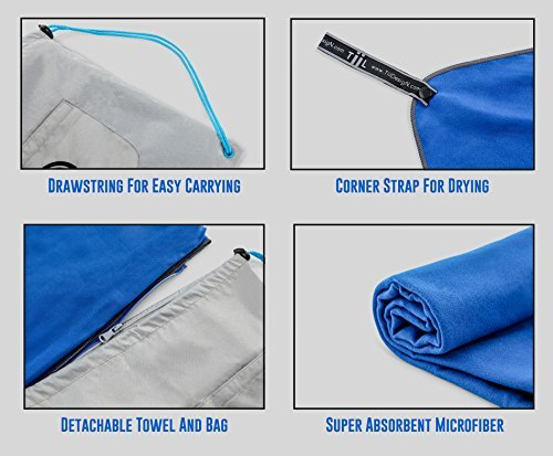 Microfiber Workout Full Size Gym Towel (51 x 24) Quick-Dry, Store Sweat + Wet Gear in Detachable Bag + Key Pocket | Fitness, Hiking, Camping, Swimming, Yoga, Exercise Sports Towel | TiiL (SilverBlue) 51j5u4kkOGL