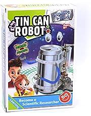 لعبة تصنيع روبوت شكل علبة صفيح ,,قم بإعادة تدوير العلب المعدنية وحولها لروبوت يمكن التحرك في طرق مضحكة عند التشغيل