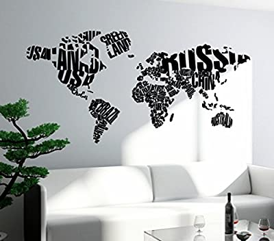 Wall Stickers Vinyl Decal World Map Cool Modern Decal z1310