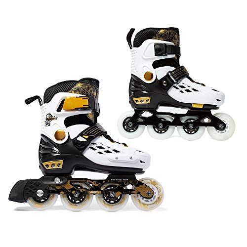 YF YOUFU Adjustable Inline Skates for Boys/Girls/Kids and Adults, Roller Skate with Triple Protection, Front Foot Shield, Hard and Strong PU Wheels, Light-up Wheel on Front for Men, ()