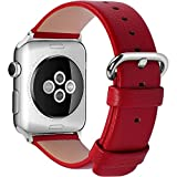 15 Colors for Apple Watch Bands 42mm and 38mm, Fullmosa Yan Calf Leather Replacement Band/Strap with Stainless Steel Clasp for iWatch Series 0 1 2 Sport and Edition Versions 2015 2016 2017, 38mm Red