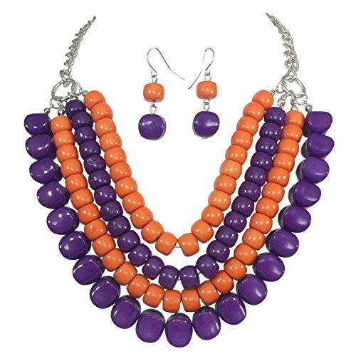 Gypsy Jewels 4 Row Layered Bib Bubble Statement Silver Tone Necklace & Earrings Set (Orange & Purple)