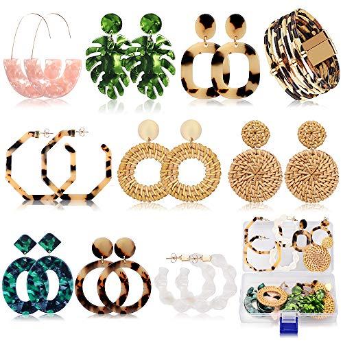 Acrylic Earrings for Women Girls Drop Dangle Leaf Earrings Resin Minimalist Bohemian Statement Jewelry Mottled Hoop Earrings