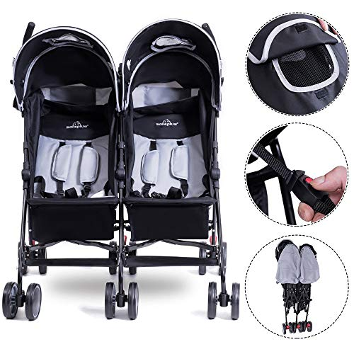 - Foldable Twin Baby Double Stroller Kids Jogger Travel Infant Pushchair Gray