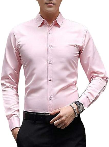 Zimaes-Men Casual Loose Long Sleeve Pure Color Linen Button Western Shirt