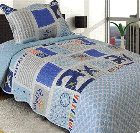 Golden Linens Twin Size 2 Pieces Quilt Bedspread Set Kids New Designs for Boys & Girls (airplane - Airplane Bedding Kids