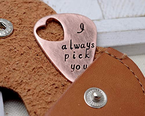 Engraved Metal Heart - Personalized Guitar Pick Keychain - Cut Out Heart - Engraved Metal Guitar Pick Token - Gift for Him