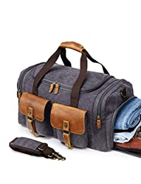 Kemy's Canvas Duffle Bag Men Travel Overnight Bags Oversized Weekender Duffel Genuine Leather Weekend Shoulder Tote Carry On Luggage with Shoe Compartment Airplanes, Large, Grey, Halloween Gift