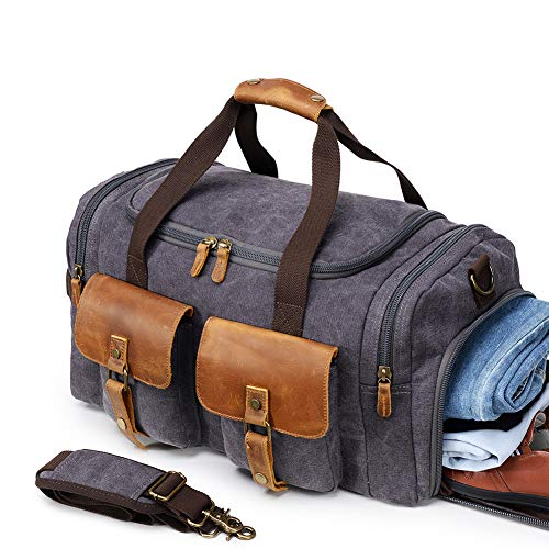 Kemy's Canvas Duffle Bag Mens Oversized Overnight Bags for Men Weekend Travel Duffel Weekender Bags Canvas Leather Gym Carryon Airplanes Carry On Luggage with Shoe Compartment Gifts