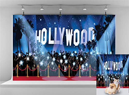 (Hollywood Backdrop Vinyl Red Carpet Picture Photography Background Birthday Wedding Party Backdrops 7x5ft Photo Booth Backdrop Themed Party Backdrop YouTube Backdrop Props)