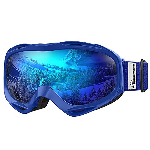 OutdoorMaster OTG Ski Goggles - Over Glasses Ski / Snowboard Goggles for Men, Women & Youth - 100% UV Protection (Blue Frame + VLT 15.2% Grey Lens with Full REVO (Blue Snowboarding Ski)
