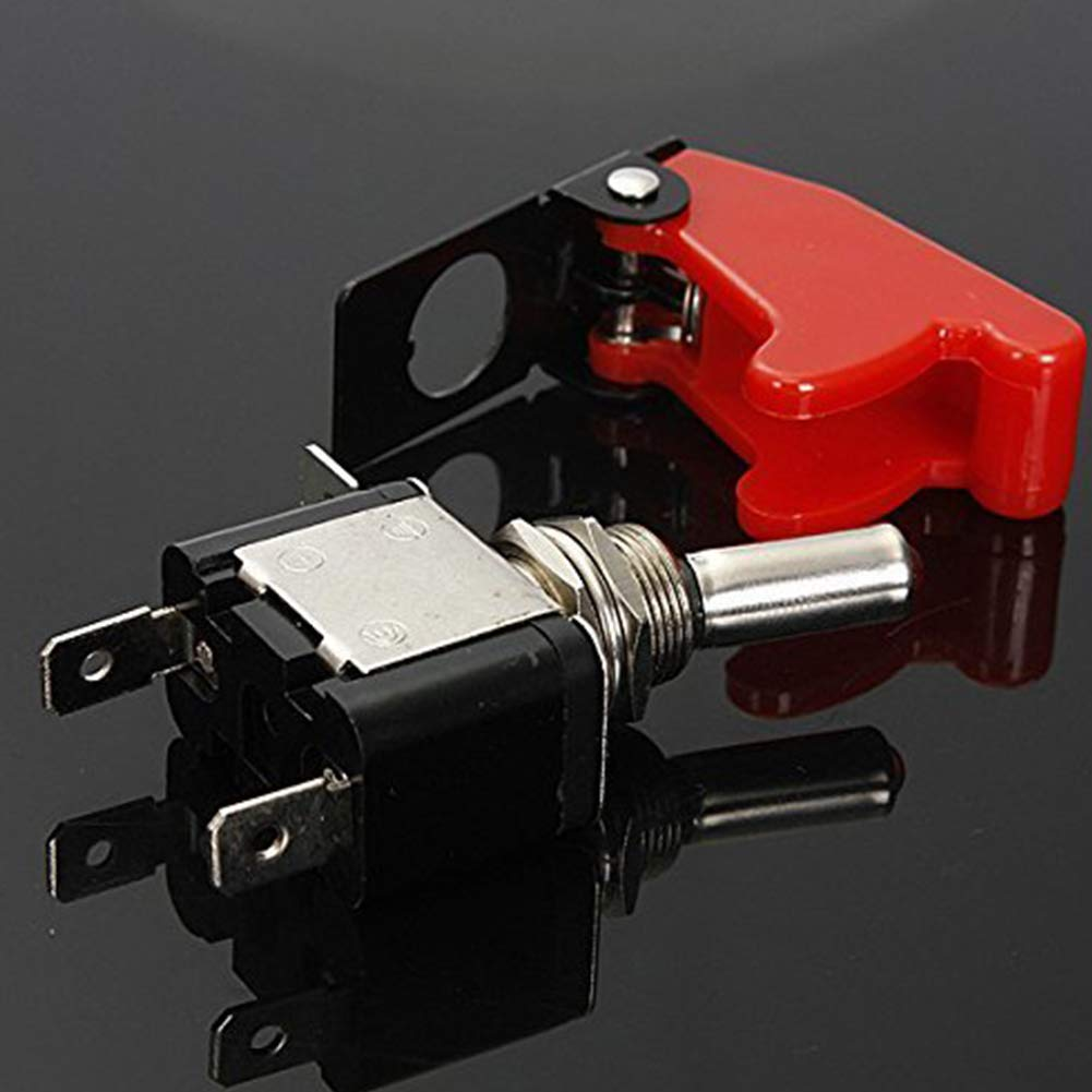 NaiCasy 20A 12V LED Rocker Toggle Switch 2 Pin ON//OFF Switch Metal Bat Waterproof Boot Cap Cover Red