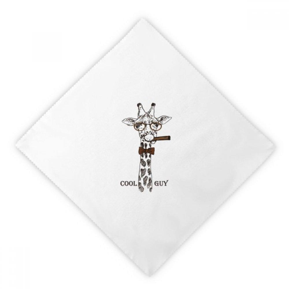 DIYthinker Giraffe Cartoon Animal Brown Dinner Napkins Lunch White Reusable Cloth 2pcs