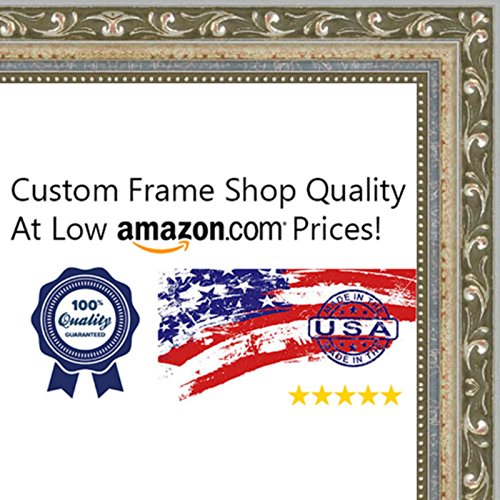 11x14 Traditional Silver Wood Picture Frame - UV Acrylic, Foam Board Backing, & Hanging Hardware Included!