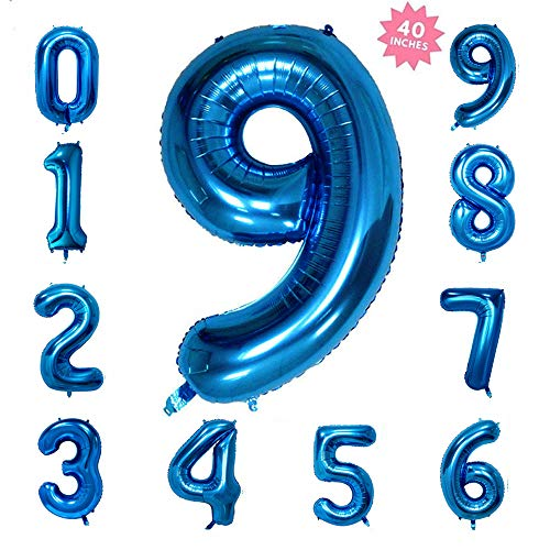 (40 Inch Blue Jumbo Digital Number Balloons 9 Huge Giant Balloons Foil Mylar Balloons for Birthday Party,Wedding, Bridal Shower Engagement Photo Shoot, Anniversary)