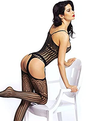 Amoretu Womens Striped Lingerie Fishnet Bodysuits Crotchless Bodystocking