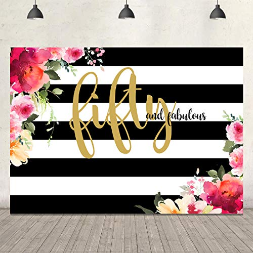 Fabulous Fifty Birthday Backdrop Floral Stripes Black and Gold Background 7x5ft Vinyl Flowers 50th Birthday Backdrops for Photography Party Accessories Fete Day Banner Cake Table Photo Studio Props]()