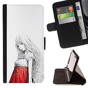 Momo Phone Case / Flip Funda de Cuero Case Cover - Chica japonesa asiática Anime Arte Rojo Blanco - Samsung Galaxy S6