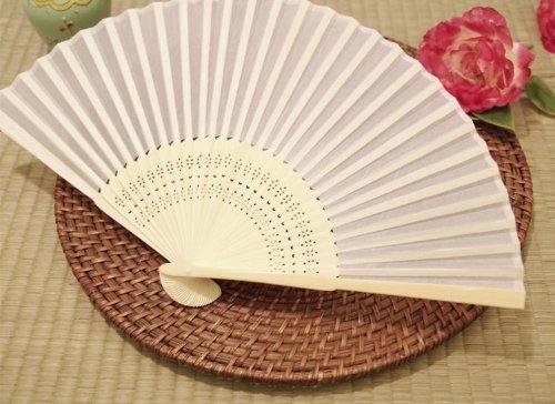 BalsaCircle 50 pcs Decorative Silk Fabric Folding Hand FANS Wedding Favors - White (Wedding Favors Fans compare prices)