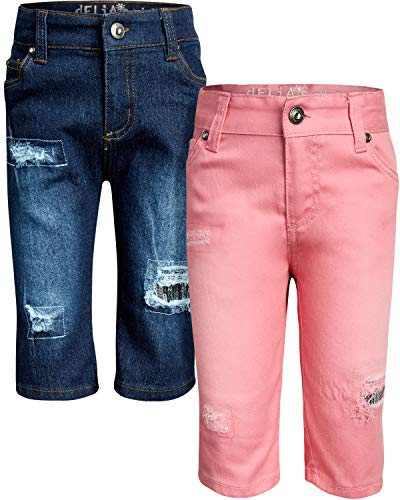 dELiAs Girls Soft Stretch Denim Bermuda Style Shorts (2 Pack), Blue/Pink Sequins, Size 7