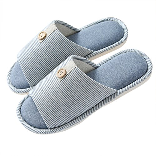 Vwu Unisex Dames Heren Lover Couple Slide Slippers Non Skid Stripes Kanten Knop Katoen Indoor Huis Slippers Button Marine Blauw