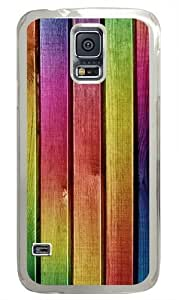 Colourful Wood Painting PC Case Cover for Samsung S5 and Samsung Galaxy S5 Transparent