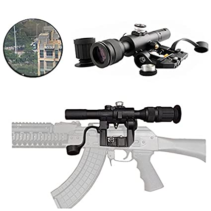 FIRECLUB Tactical Russian POSP 4X26 SVD Red Illuminated Sniper Scope With  Rubberized Support Sight Eyepiece Extender for SVD Dragunov Rifle AK47  AK-47