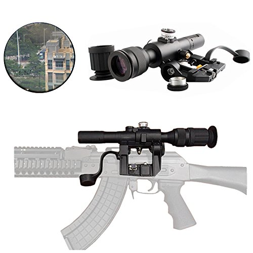 FIRECLUB Tactical Russian POSP 4X26 SVD Red Illuminated Sniper Scope With Rubberized Support Sight Eyepiece Extender for SVD Dragunov Rifle AK47 AK-47 AKS AKM SKS