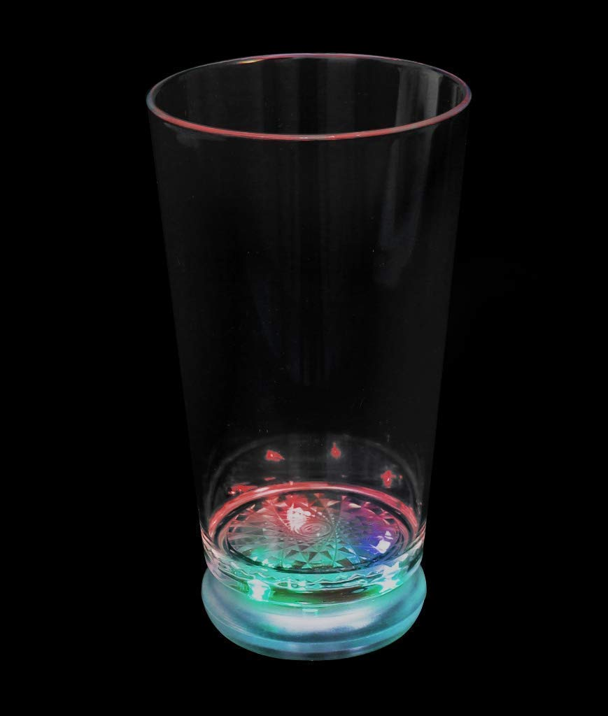 Fun Central N099, 6 Pcs 16 Oz. Multicolor LED Light Up Flashing Pint Glass, Light Up Party Glasses, LED Drinking Glasses - for New Year Celebration, Glow in the Dark Parties, Bars, Night Clubs