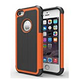 5c iphone light blue wallet case - AGRIGLE Shock- Absorption / High Impact Resistant Hybrid Dual Layer Armor Defender Full Body Protective Cover Case For iPhone 5/5S/SE (Orange)