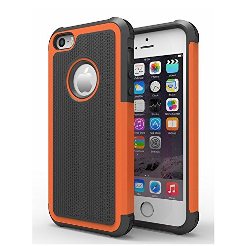 AGRIGLE Shock- Absorption / High Impact Resistant Hybrid Dual Layer Armor Defender Full Body Protective Cover Case For iPhone 5/5S/SE (Orange)