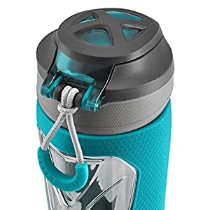 Zulu Vapor BPA-Free Plastic Water Bottle with Flip Straw, Teal, 24 oz