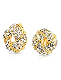 Bling Jewelry Woven Love Knot Gold Plated Alloy Crystal Clip On Earrings