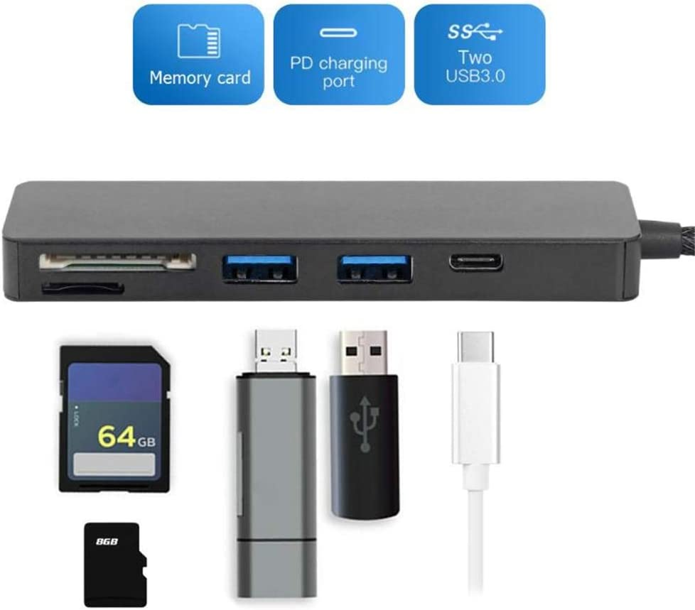 QLPP Portable 5 in 1 USB3.0 Type-C TF SD Card Reader USB-C HUB Converter Multi-Function Support PD Charging,Compatible for USB C Devices,B