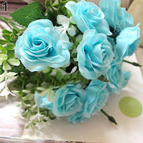 Fast Delivery Dresses Australia (UNAKIM--15 HEADS ROSE BOUQUET FAKE SILK FLOWER PARTY HOME WEDDING FLORAL DECOR FAST PIN)