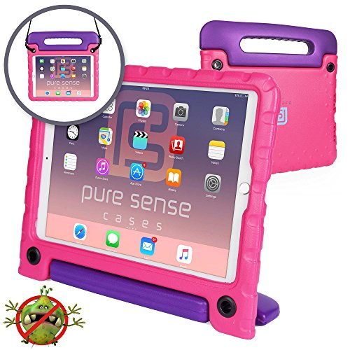Pure Sense Buddy [Anti-Microbial Kids Case] Child Proof case for iPad Pro 10.5-inch | Rugged Cover: Stand, Handle, Shoulder Strap | A1701 A1709 (Pink)