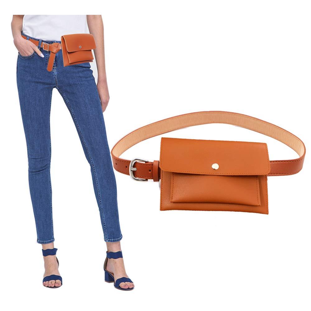 女性革二層ポケットウエストベルトファニーパック、家族の取り外し可能なベルト財布携帯電話バッグ用母の日 B07DJ3LVT6