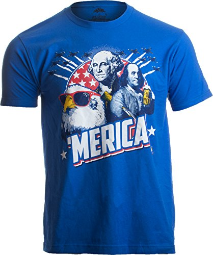 MERICA | Epic USA Patriotic American Party Patriot Unisex T-shirt Men Women-Adult,3XL Royal Blue ()
