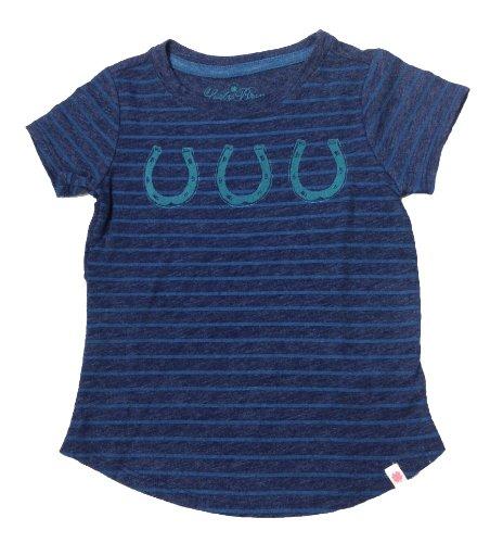 Lucky Brand Girl's Lucky Horseshoe Tee (Toddler/Kids), Blue Stripes (3T)