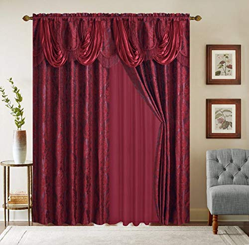 Sapphire Home Rod Pocket Window 84 Inch Length Curtain Drape Panels w/Attached Valance & Sheer Backing + 2 Tassels - Jacquard Damask Traditional Pattern for Living Dining Room, Naomi Burgundy/Wine