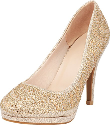 Cambridge Select Women's Closed Toe Slip-On Glitter Crystal Rhinestone Platform Stiletto High Heel Pump,8.5 B(M) US,Champagne