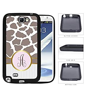 Dark Beige Giraffe Animal Print Pattern and White and Gray Vertical Stripes on Bottom with Light Pink and Brown Circle Monogram in Center Outlined in Gold Rubber Silicone TPU Cell Phone Case Samsung Galaxy Note 2 II N7100