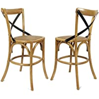 Adeco Tan Elm Wood Rattan Vintage-Style Contrasting Back Curved Leg Barstool/Dining Chair, 43 inches high (Set of ONE)