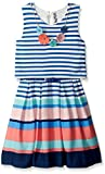 Beautees Big Girls' Sleeveless Multistripe Skater Dress, Blue, 7