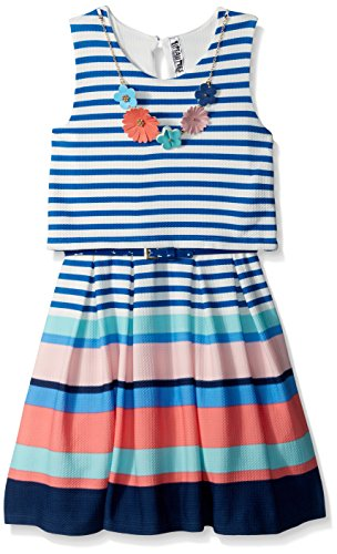 Beautees Big Girls' Sleeveless Multistripe Skater Dress, Blue, 7 by Beautees