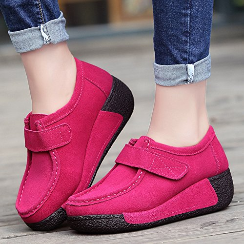 Btrada Womens Chunky Bottom Loafers Shoes Casual Shake Walking Sneaker Faux Suede Driving Moccasin Shoes Red f85q7QQ