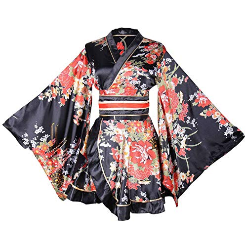 Sexy Short Kimono Costume Adult Women's Japanese Geisha Yukata Prints Gown Blossom Fancy Dress with OBI Belt ()