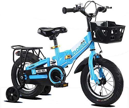 YSA キッズバイク12/14インチ子供用自転車、2歳以上の男の子と女の子に適し、リアペダルブレーキと補助輪自転車付き