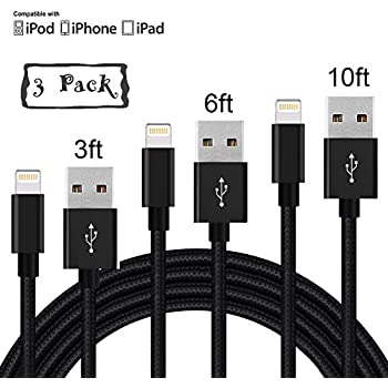 Lightning Cable,Loopilops Charger Cables 3Pack 3FT 6FT 10FT to USB Syncing and Charging Cable Data Nylon Braided Cord Charger for iPhone X/8Plus/8/7/7Plus/6/6Plus/6s/6s Plus/5/5s/5c and more-Balck