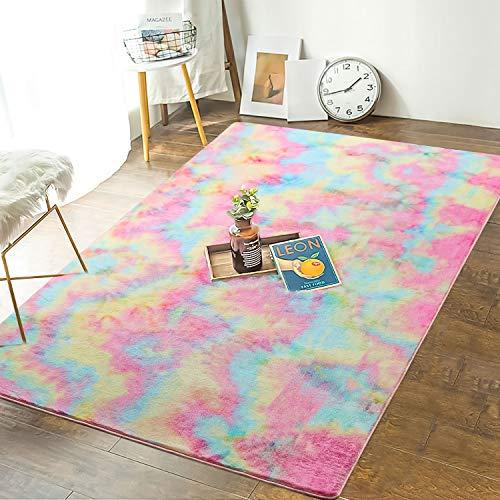 Andecor Soft Girls Room Rugs - 3 x 5 Feet Fluffy Rainbow Area Rug for Kids Baby Room Bedroom Nursery Home Decor Large Floor Carpet
